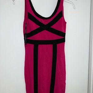 Bebe hot pink and black dress
